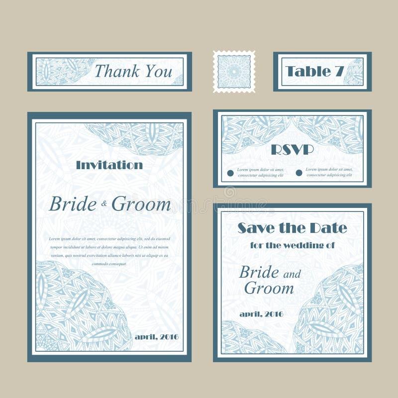 Kortvektormall för att gifta sig Uppsättningen av inbjudningar för tackar dig att card, sparar datumkortet, mors dag stock illustrationer