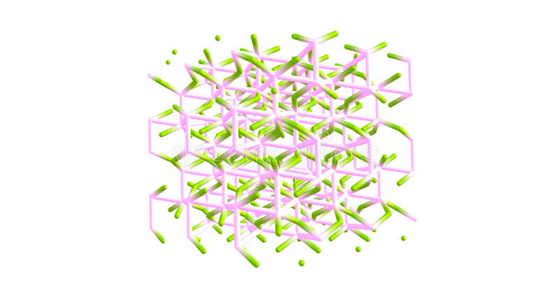 Korund moleculaire die structuur op wit wordt geïsoleerd stock illustratie