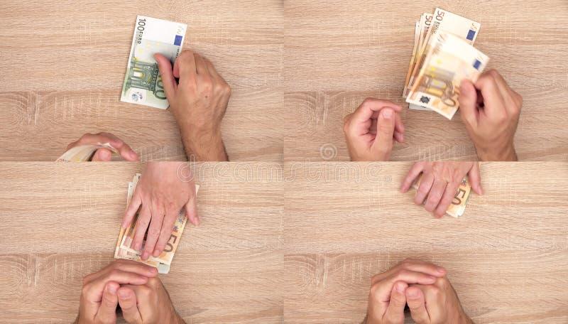 Korupci pojęcie, mężczyzna daje łapówka pieniądze kobieta fotografia stock