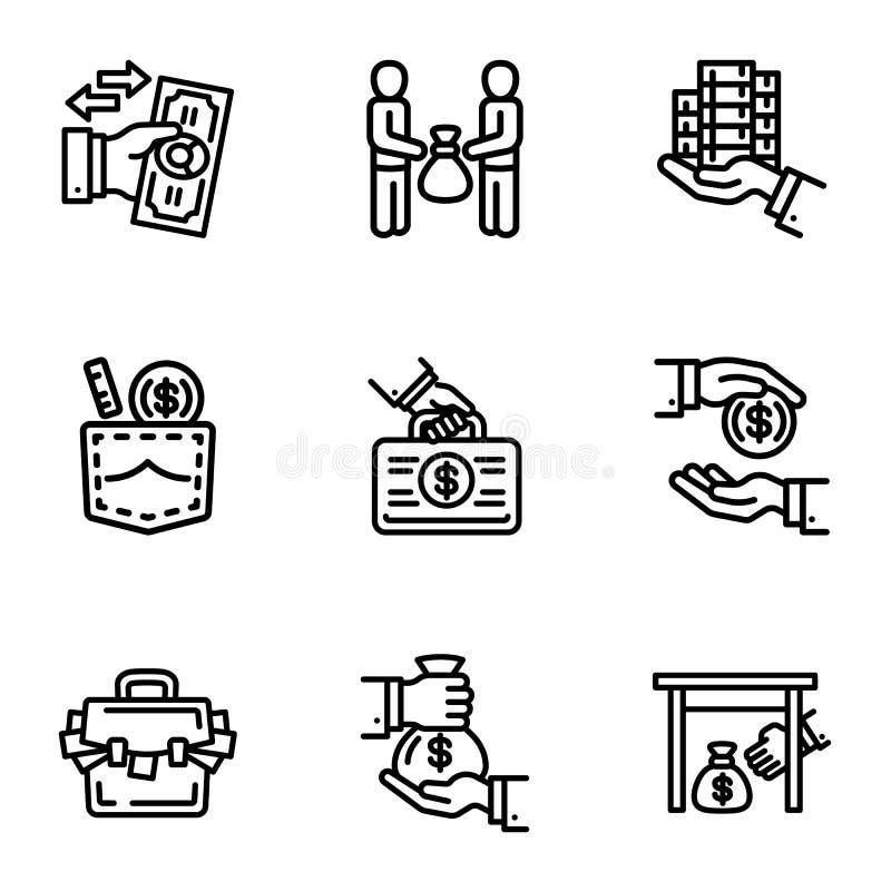 Korupcja pieniądze ikony set, konturu styl ilustracja wektor