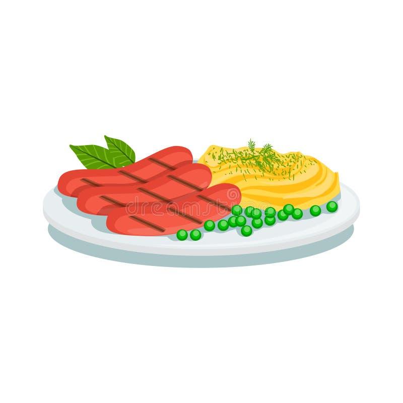 Korvar och mosad potatis, illustration för platta för Oktoberfest gallermat vektor illustrationer