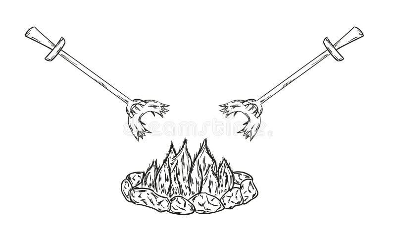 Korvar på brand stock illustrationer