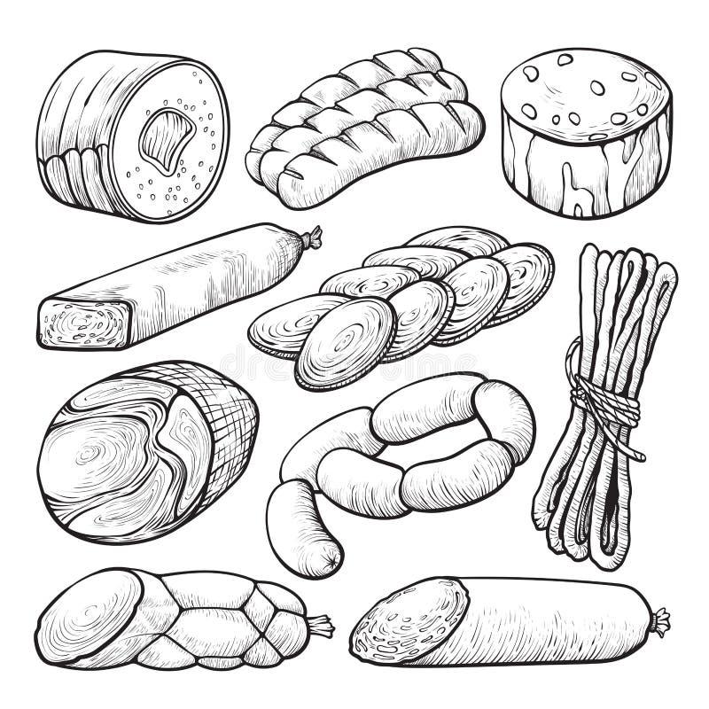 Korven och salami, läckert kött skissar uppsättningen stock illustrationer