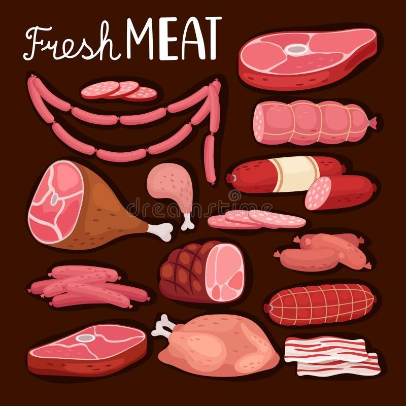 korvillustration Nytt kött och kokt korv, salami och höna, rå skivad grisköttfläskkarré och lagad mat skinka för stock illustrationer