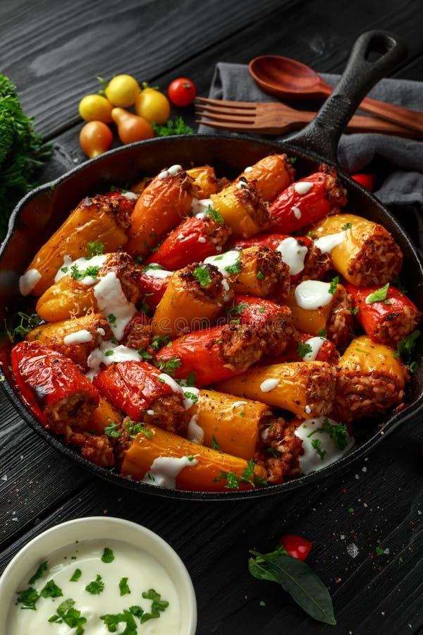 Korvkött, färsen och välfyllda söta mini- spanska peppar för ris bakade i gjutjärnkastrull, pannan som överträffades med yoghurt, fotografering för bildbyråer