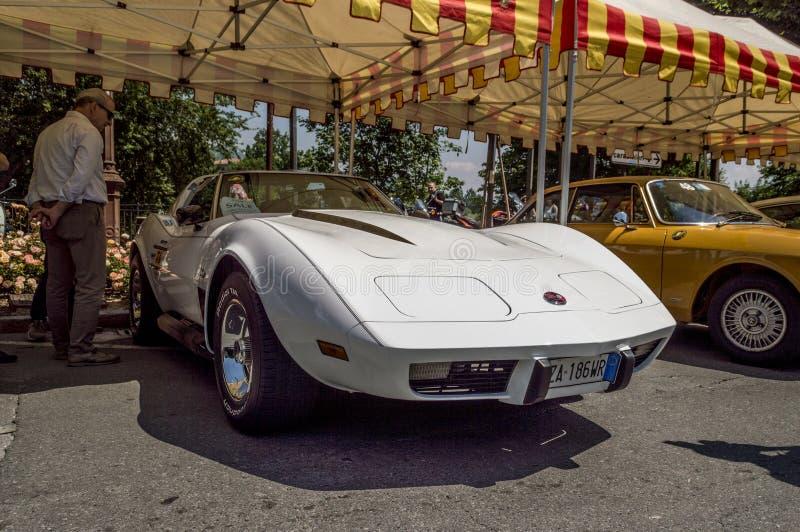 1975 korwety C3 Stingray przy Bergamo Historyczny Grand Prix 2019 obraz royalty free