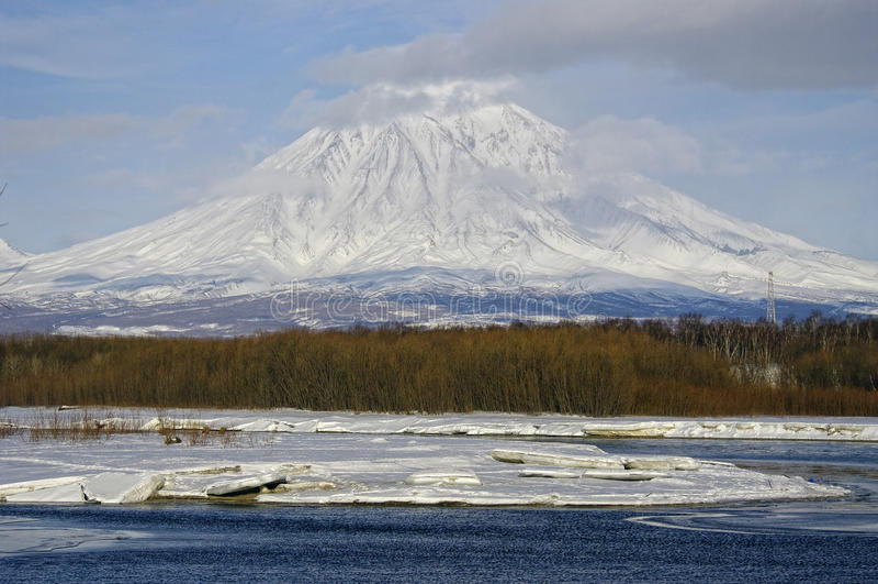 Koryaksky volcano of Kamchatka Peninsula. stock photos