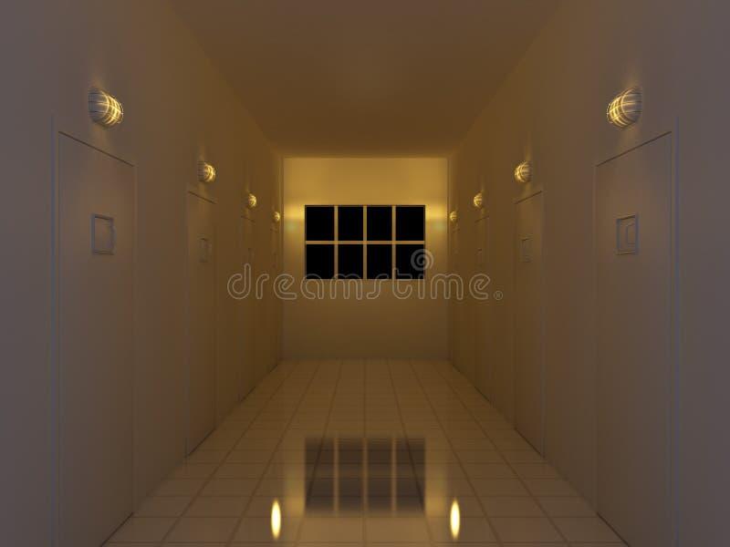 korytarz noc ilustracji