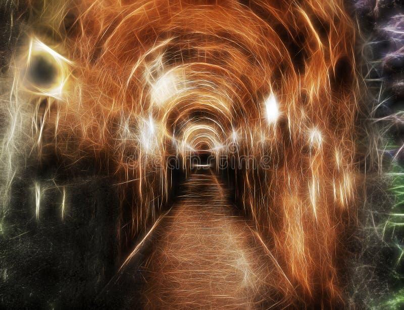 Korytarz pod ziemią z strasznymi światłami obraz stock