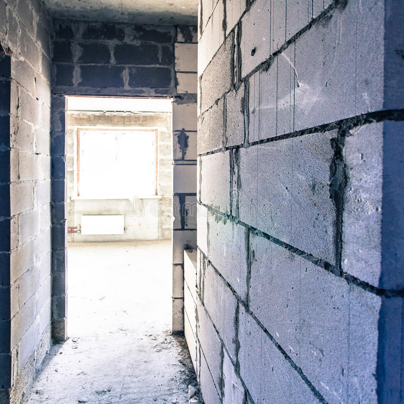 Korytarz w reconstructioned domu obraz royalty free