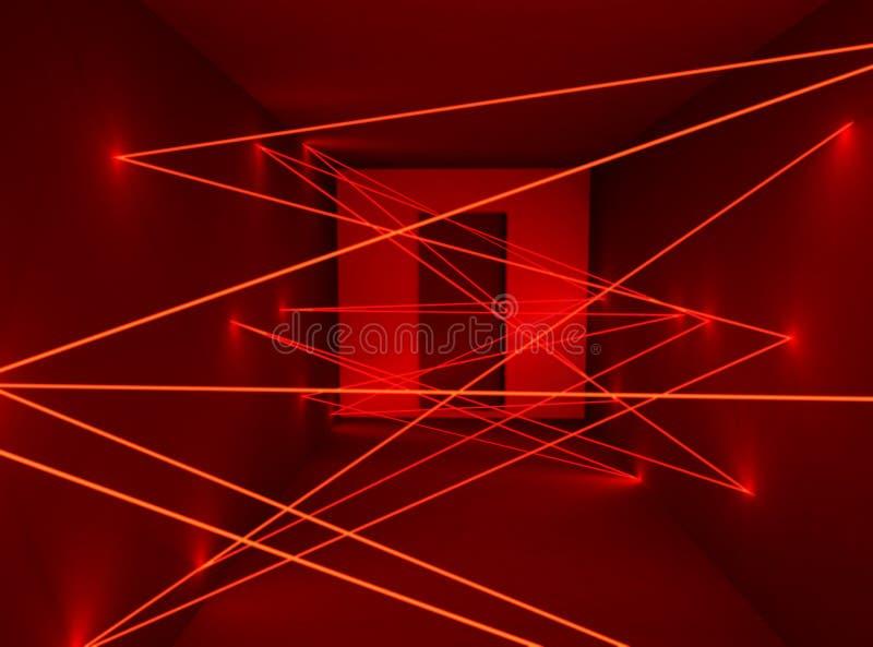 Korytarz z czerwonej ochrony czujnika plexus laserową siecią ilustracji