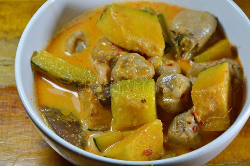 Korzenna bania z wiązadło kurczakiem w kokosowym kremowym currym na pucharze fotografia royalty free