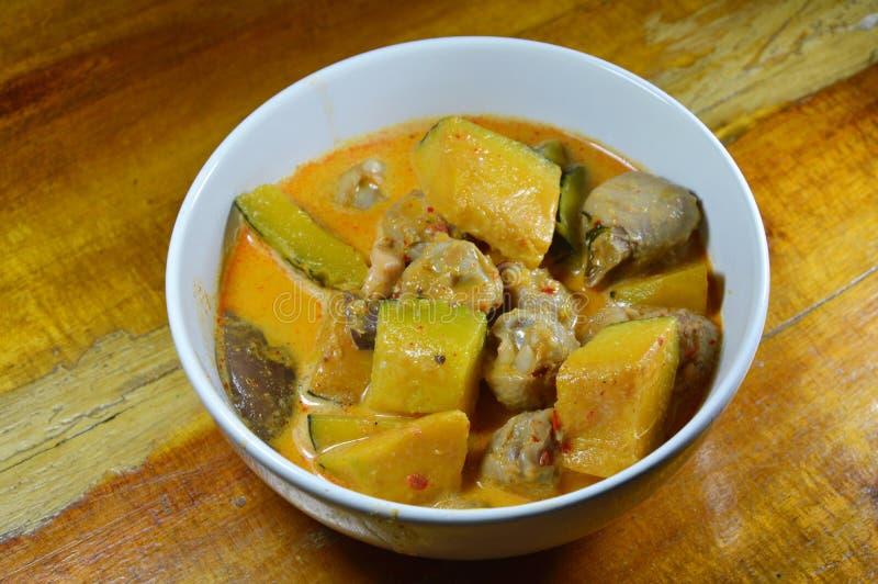 Korzenna bania z wiązadło kurczakiem w kokosowym kremowym currym na pucharze zdjęcie stock