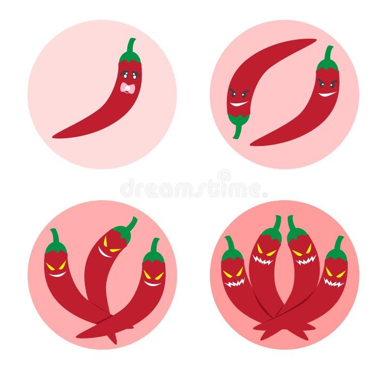 Korzenna równa ikona i, Chili pieprzu logo ilustracja wektor