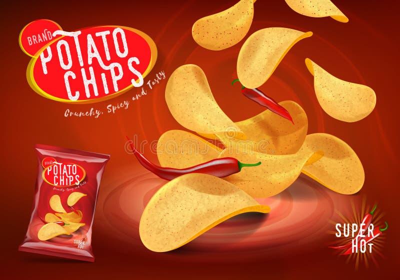 Korzenne chili frytki reklamy, układy scaleni z chillies fla ilustracja wektor