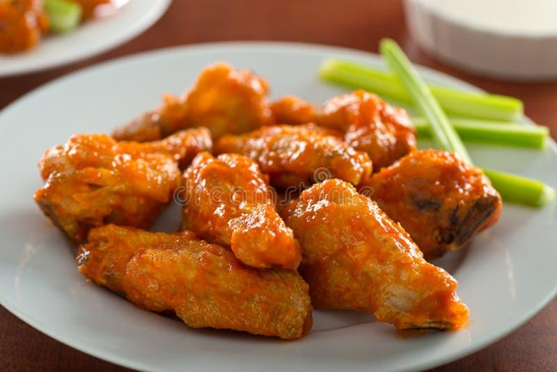 Korzenni kurczaków skrzydła z Sriracha kumberlandem fotografia stock