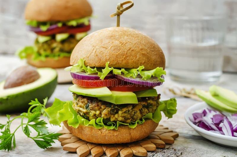 Korzenni weganinu curry'ego hamburgery z jagłą, chickpeas i ziele, fotografia royalty free