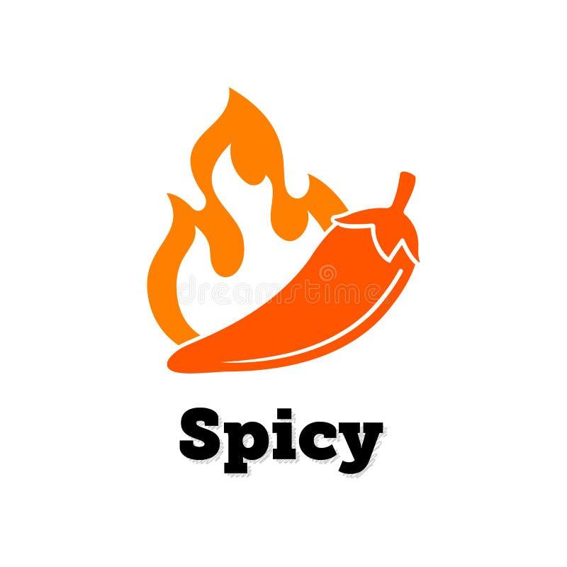 Korzenny chili gorący, pieprzowa wektorowa ikona Korzenna karmowa jalapeno czerwonego pieprzu ogienia płomienia etykietka ilustracji