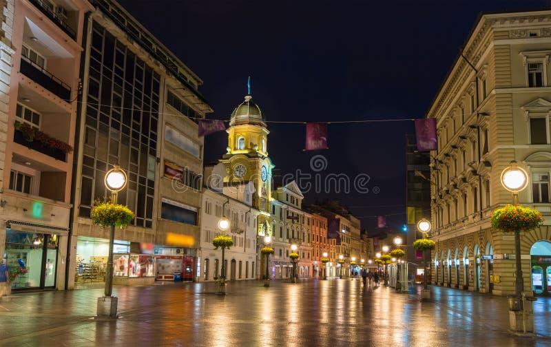 Korzo, ο κεντρικός δρόμος του Rijeka, Κροατία στοκ φωτογραφία