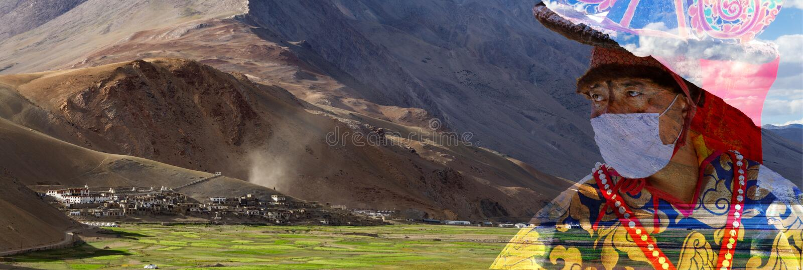 Panorama of the Korzok monastery and village with dancer monk a royalty free stock photos