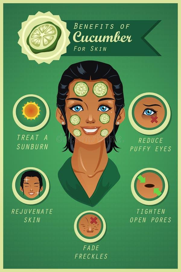Korzyść ogórek dla skóry ilustracja wektor