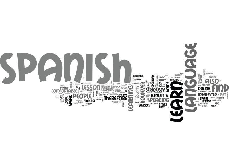 Korzyść Uczy się hiszpańszczyzny Onlineword chmurę ilustracji