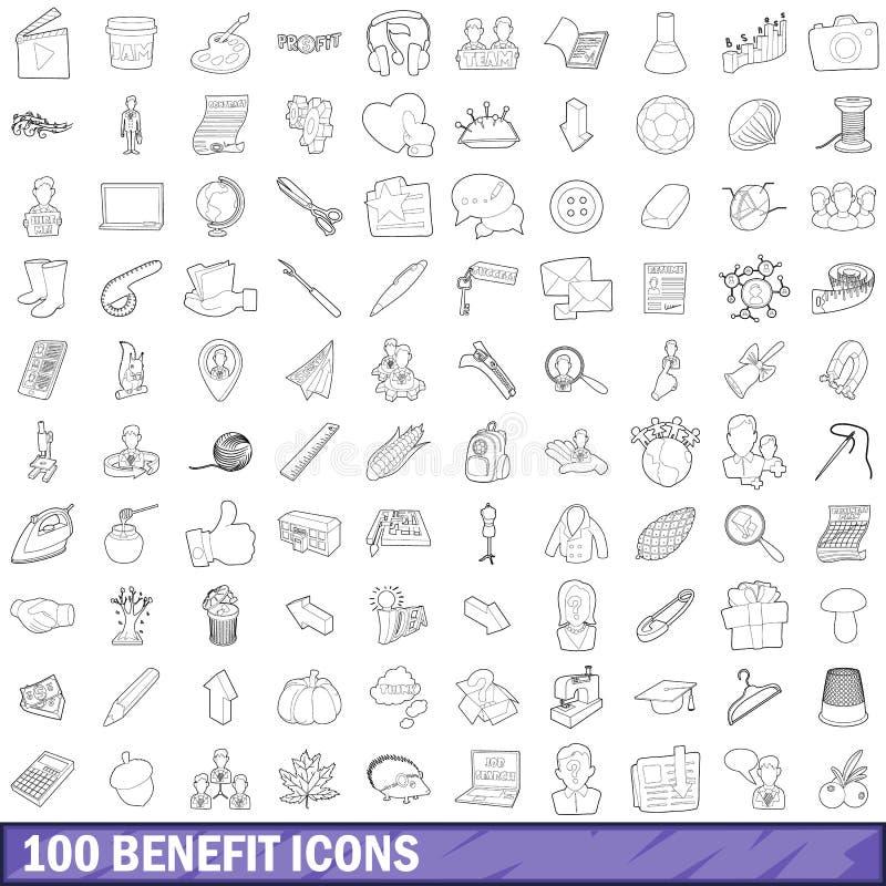100 korzyści ikon ustawiających, konturu styl ilustracji