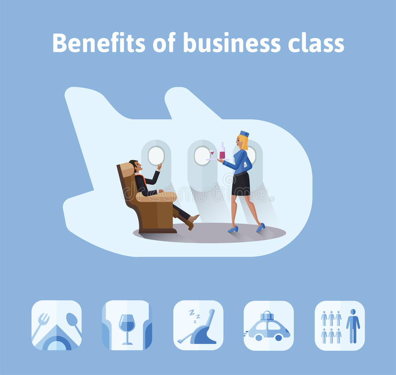 Korzyści loty w klasie business Szanowany biznesmena obsiadanie w samolotowym siedzeniu stewardesa przynosi on a royalty ilustracja