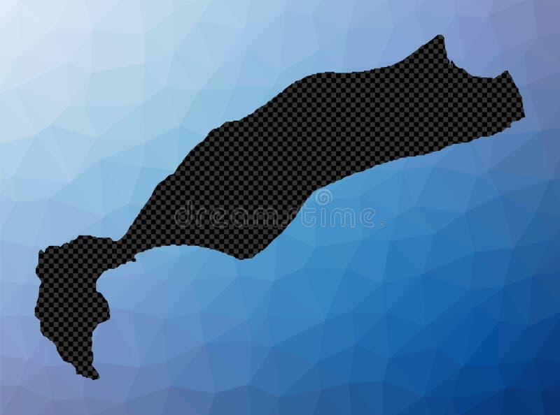 Kos geometric map. Stencil shape of Kos in low poly style. Creative island vector illustration stock illustration
