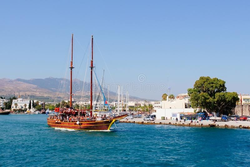 Kos island harbor Aegean sea and cruise ship in Greece royalty free stock images