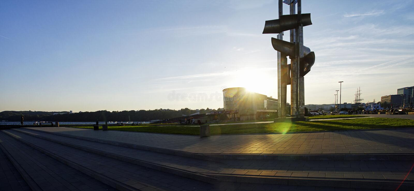 The Kosciuszko Square - the one of most representation places in Gdynia late afternoon, Gdynia royalty free stock photos