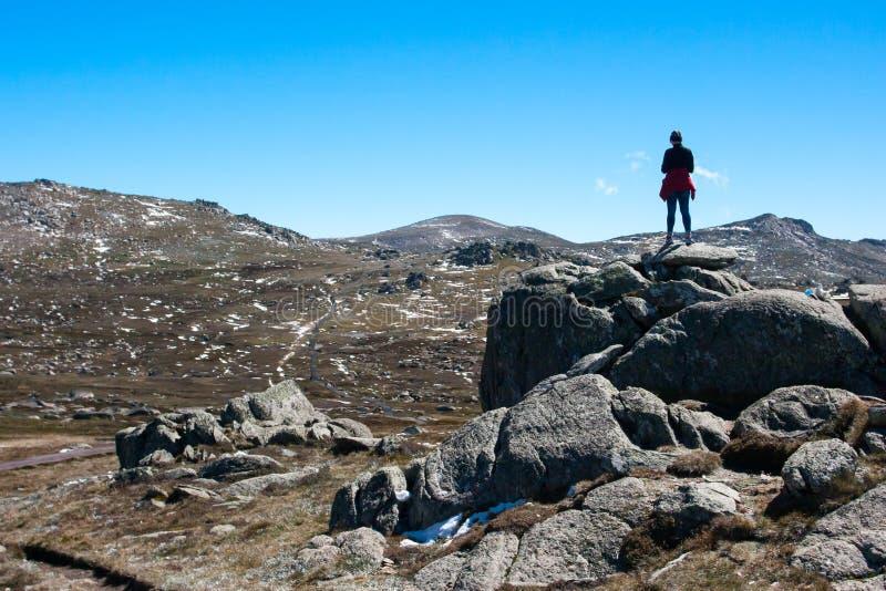 Kosciuszko Walk at Thredo Summit. A spectacular view across the valley on the Kosciuszko walk at the summit of Thredo looking towards Mount Kosciusko, in the stock photos