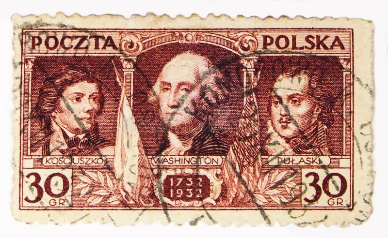 Kosciuszko 1746-1817, Waszyngton 1732-1799, Pulaski 1745-1779, George Washington - Rodzi dwóchsetlecie seria około 1932, zdjęcie royalty free