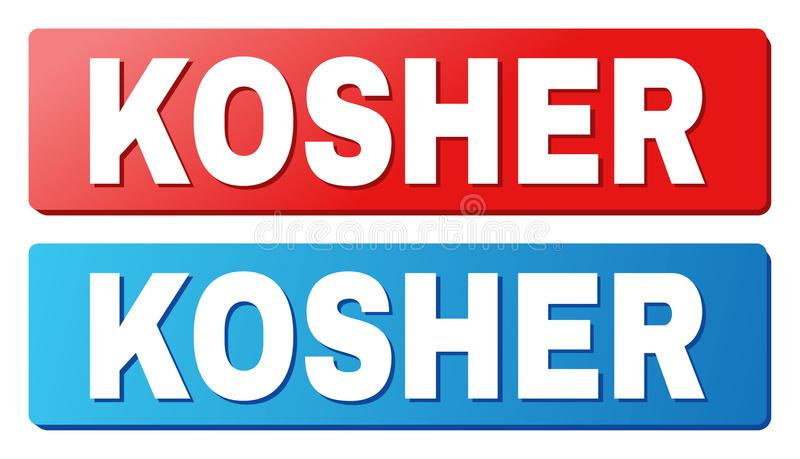 KOSHER Caption on Blue and Red Rectangle Buttons. KOSHER text on rounded rectangle buttons. Designed with white caption with shadow and blue and red button royalty free illustration