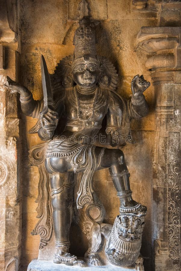 Koshtha image of dvarapala in the Subrahmanya shrine. Brihadishvara Temple, Thanjavur, Tamil Nadu. India royalty free stock images
