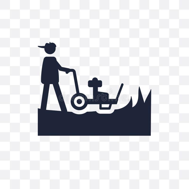 Kosiarz przejrzysta ikona Kosiarza symbolu projekt od rolnictwa, Fa royalty ilustracja