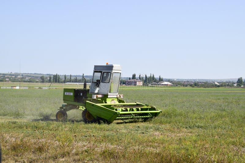 Kosiarz w polu kosi trawy dla siana obraz stock