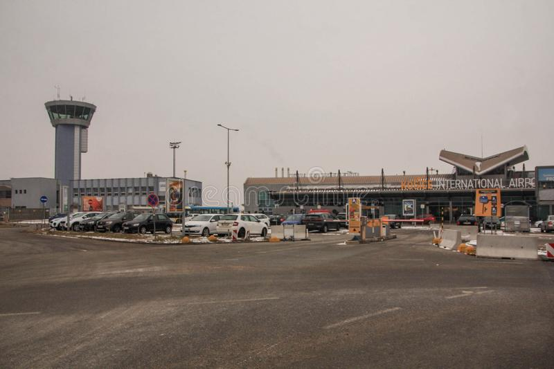 Kosice International Airport, Main Building on Left and Air Traffic Control Tower on Left royalty free stock image