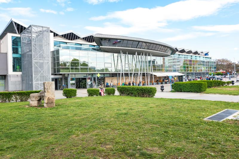 KOSICE, SLOVAKIA – MAY 1 2019: Entrance to terminal of Main railway station in Kosice Slovakia royalty free stock photography