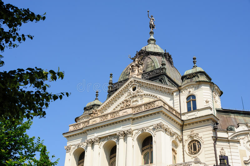 Kosice State Theater's Neo-Baroque facade. View of the risalit and roof of the State Theater's Neo-Baroque facade stock images