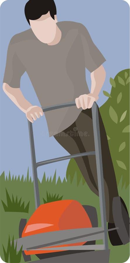 kosisz trawnik ludzi ilustracja wektor