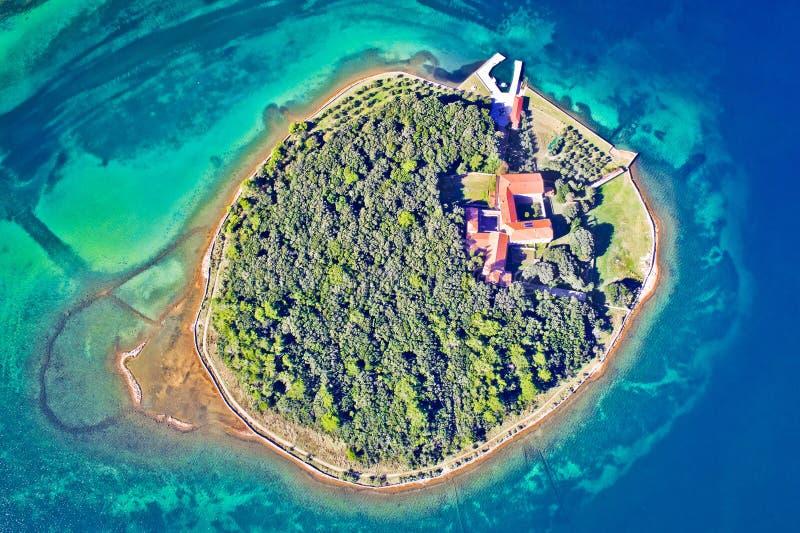 Kosljun. Adriatic island of Kosljun in Punat bay aerial view, Island of Krk. Kvarner bay of Croatia royalty free stock image