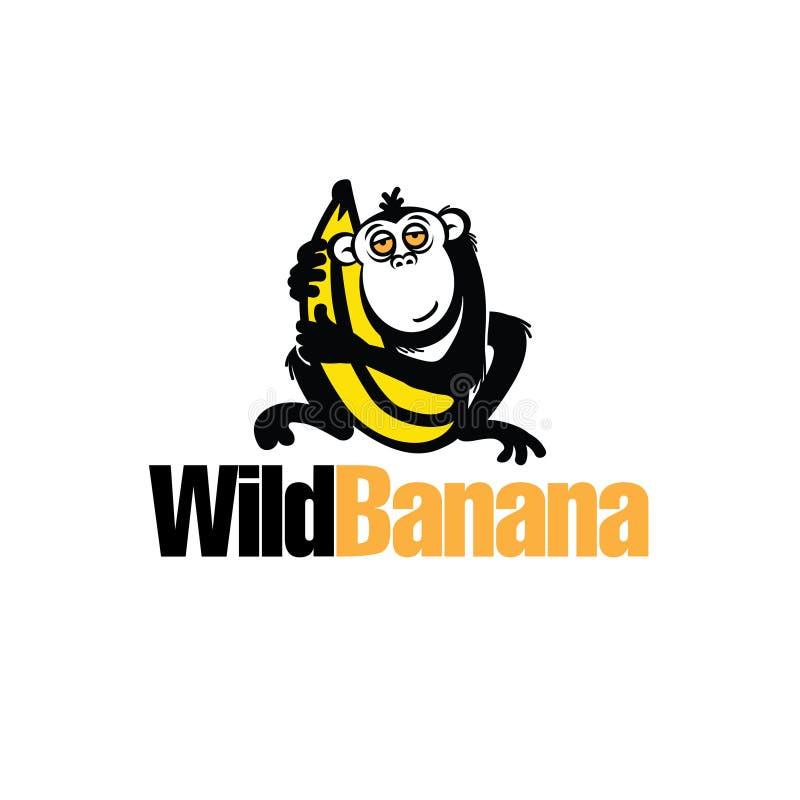 kosmata małpa chwyta wielką żółtą bananową owocową ilustrację ilustracja wektor