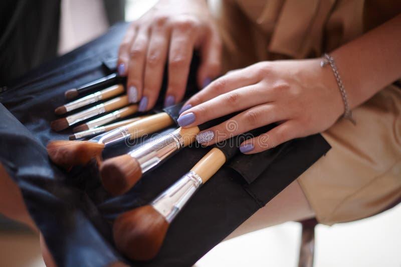 Kosmetik bauschen sich mit Satz Bürsten für Make-up lizenzfreies stockfoto