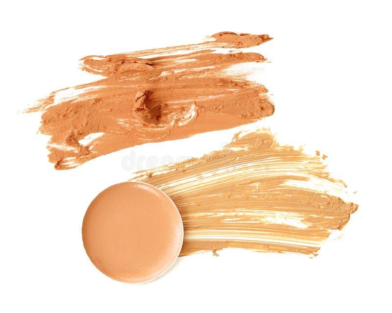 Kosmetik bilden beige Farbsatzisolat stockfotos