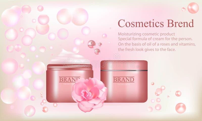 kosmetik eine marke gesichtscreme mit rosafarbenem l eine illustration der brosch re eines. Black Bedroom Furniture Sets. Home Design Ideas