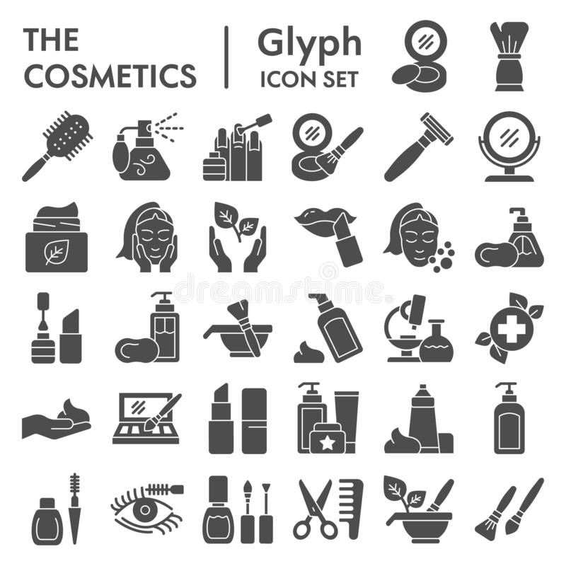 Kosmetik Glyph-Ikonensatz, Make-upsymbole Sammlung, Vektorskizzen, Logoillustrationen, Hautpflegezeichen fest lizenzfreie abbildung
