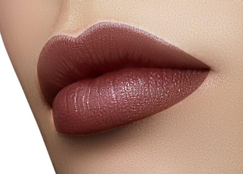 Kosmetik, Make-up Dunkler Modelippenstift auf Lippen Schöner weiblicher Mund der Nahaufnahme mit sexy Lippenmake-up Teil des Gesi lizenzfreie stockfotografie