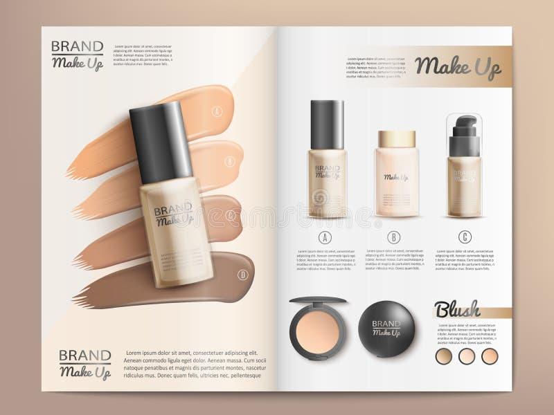 Kosmetik-Produkt-Katalog oder Broschüren-Schablone stock abbildung