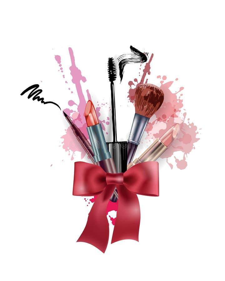 Kosmetik und Modehintergrund mit bilden Künstlergegenstände: Lippenstift, Wimperntuscheneyeliner Schablonen-Vektor vektor abbildung